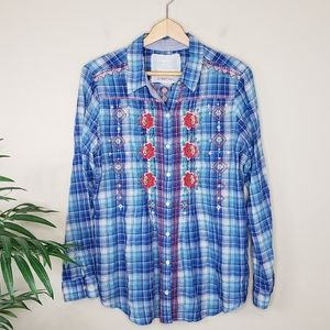 Johnny Was | Floral Embroidered Plaid Shirt
